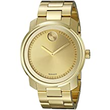 Movado Men's BOLD Metals Yellow Gold Watch with a Printed Index Dial, Gold (Model 3600258)