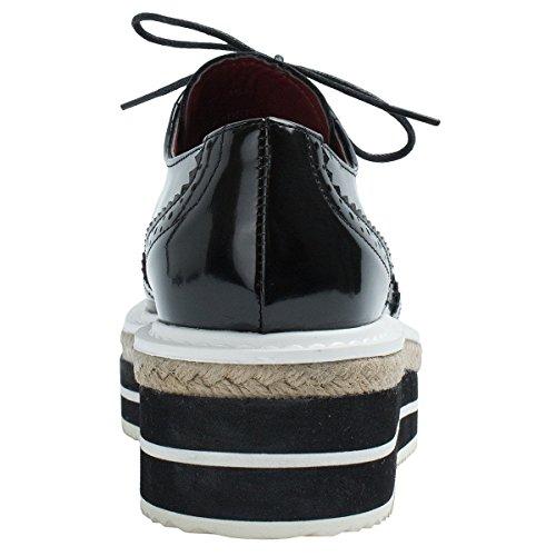 Height Black Platform Women's Wintips Shoes Oxford Brogue LIGHTBACK 5Rxqg80q
