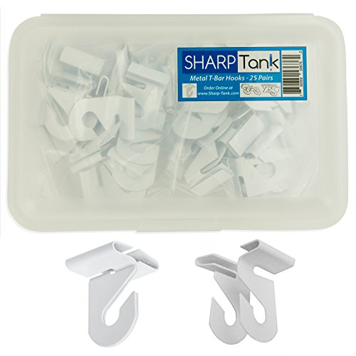 SharpTank Classroom Ceiling Hooks (Pack of 25) - High Strength Aluminum Ceiling Track Bar-Clamp Fastener Designed for Drop-Ceiling T-Bars - Holds up to 15 lbs