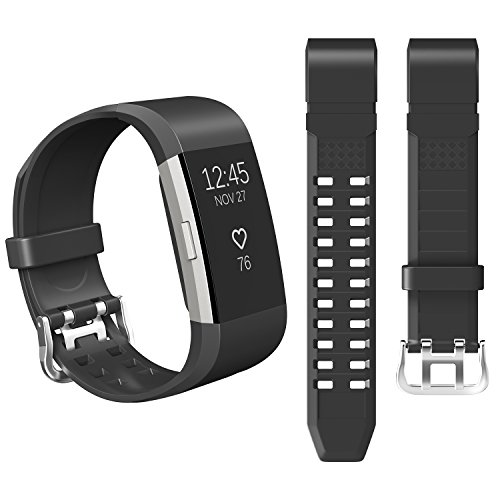 For Fitbit Charge 2 Bands - Hagibis TPU Replacement Accessories Bracelet Strap with Double Row Ventilation Holes for Fitbit Charge 2 HR (Black)