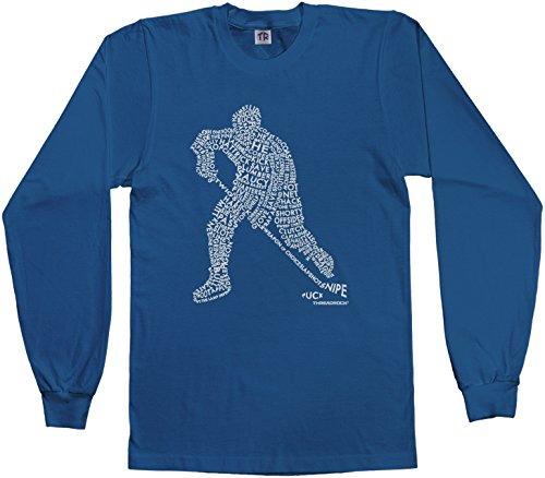 Threadrock Big Boys' Hockey Player Typography Design Youth L/S T-Shirt XL Royal Blue (Royal Blue Youth Players T-shirt)
