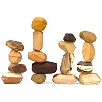 17 Piece Tumi Ishi Balancing Block Set - The ORIGINAL Wood Rocks - Mixed Wood Species - Natural Wood Toy - Organic Jojoba Oil and Beeswax Finish - Handmade Wooden Toy - Educational Toy - USA Made