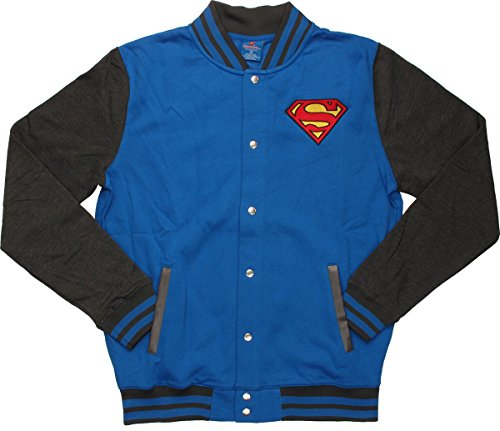 DC Comics Superman Men's Blue Letterman Jacket,
