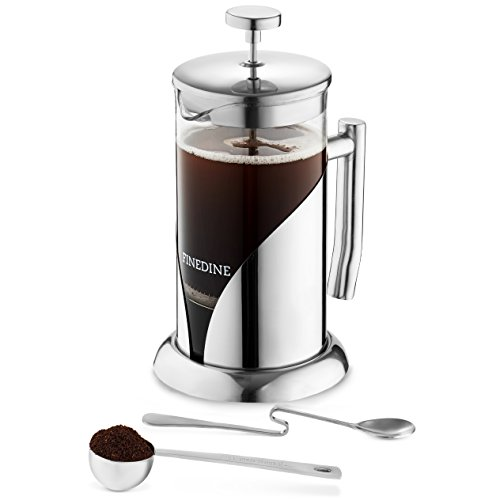 Premium 18/8 Stainless Steel French Press Coffee Maker Heat Resistant Borosilicate Glass Coffee Pot European Style. Triple Filtered Tea Infuser, With Spoon, and Measuring Scoop, Bonus Filter, 34 Ounce