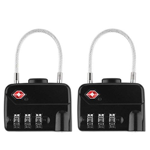 Molshine TSA Luggage Lock(2 Pack), 3-Digit Combination Steel Cable Padlock For Travel Lock (black) by molshine