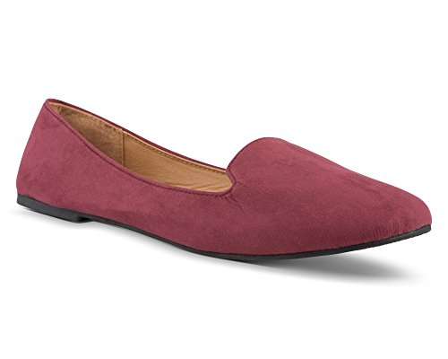 (Twisted Womens Faux Suede Smoking Slipper Flats - SARA125 Burgundy, Size 9)