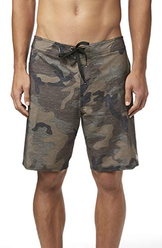 Snow Camo Shorts - O'Neill Men's Water Resistant Hyperfreak Stretch Swim Boardshorts, 19 Inch Outseam (Camo/Solid, 29)