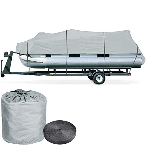 Gray Boat Cover (600D Trailerable Pontoon 18 19 20' UV Water Resistant Boat Cover w/ Oxford Bag Gray)