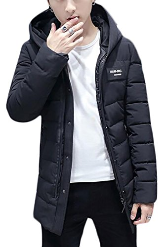 Cotton Black Hooded Quilted Jacket Winter today Warm UK Thicken Men's Rqa144AZw