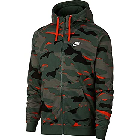 002f45668 Nike M NSW Club Camo Hoodie Fz Ft Sweatshirt Homme: Amazon.fr ...