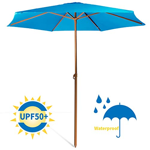 690GRAND Patio Table Market Umbrella For Beach Outdoor UV Protection UPF 50+ Aluminum Poles Polyester Canopy Portable Lightweight 8ft Shade by 690GRAND
