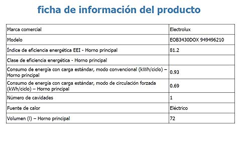 Electrolux EOB3430DOX Horno Multifunción, 2780 W, 72 litros, Acero Inoxidable: 245.33: Amazon.es: Grandes electrodomésticos