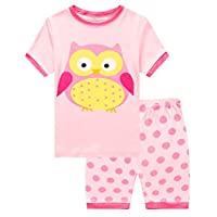 Family Feeling Little Girls Owl Summer Pajamas Short Sets 100% Cotton Sleepwear 6