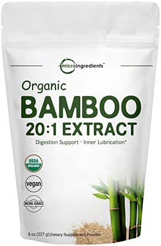 Organic Bamboo Extract Powder, 8 Ounce, Strongly Supports Healthy Skin, Nail, Hair, Joints and Bones with Minerals and Silica, Non-GMO and Vegan Friendly