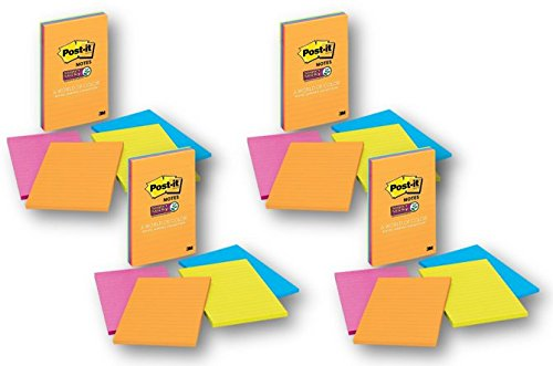 Post-it Super Sticky Notes, 4 in x 6 in, Rio de Janiero Collection, Lined, 4 Pads/Pack, 45 Sheets/Pad, 4-PACK