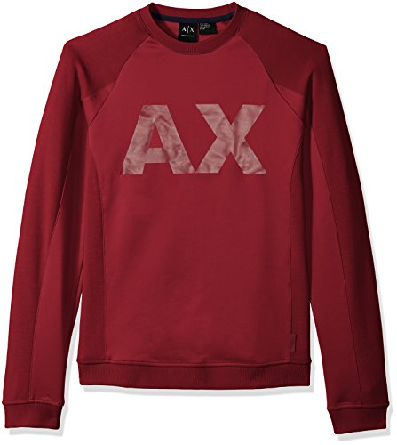 A|X Armani Exchange Men's Neoprene Sweatshirt with Ax Logo, Rhubarb, Small by A|X Armani Exchange