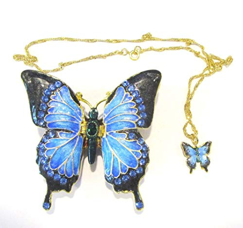 Kingspoint Jeweled Blue Butterfly Trinket Box w Matching Pendant Necklace ()