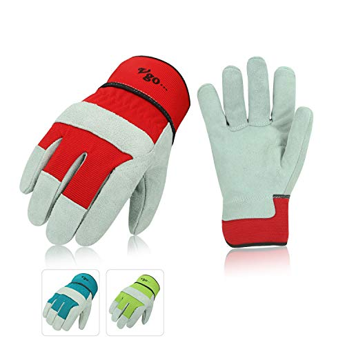 Vgo 3Pairs Cow Split Leather Ladies' Work Gloves with Safety Cuff (Size L,3Colors,CB3501W) ()