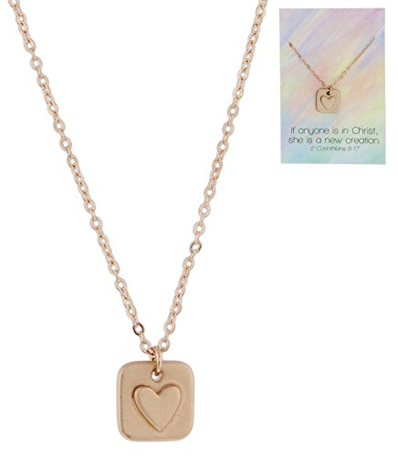 Bob Siemon She is a New Creation Carded Rose-Gold Plated Raised Heart Necklace