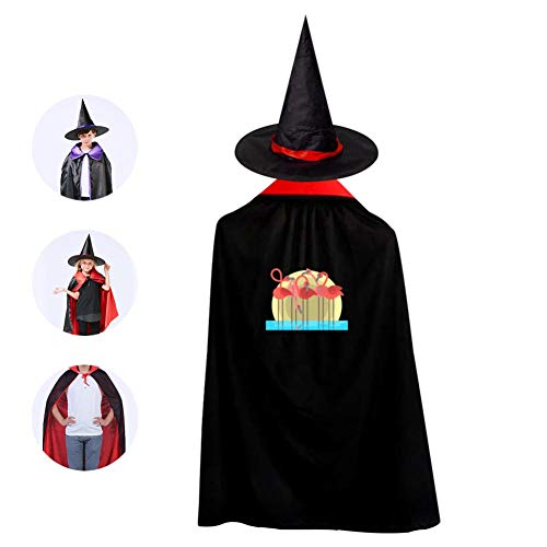 Flock of Flamingos Cosplay Cloak Wizard Witch Cape Pointy Cap Reversible Long Tippet For Children Halloween Party Prop ()