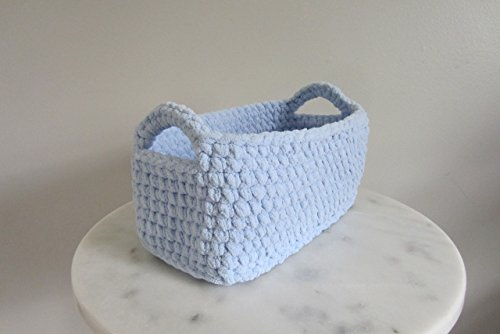 crocheted-storage-basket-rectangle-shelf-baskets-blue-or-pick-your-color