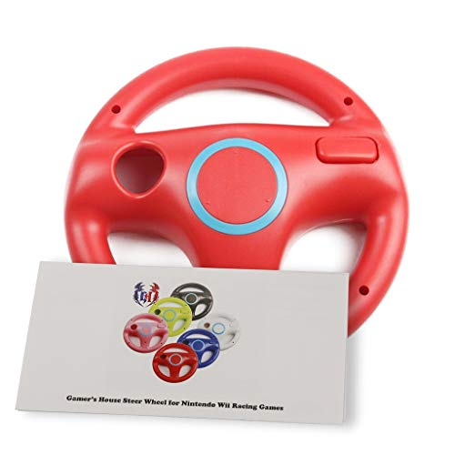 (GH Wii Steering Wheel for Mario Kart 8 and Other Nintendo Remote Driving Games, Wii (U) Racing Wheel for Remote Plus Controller - Mario Red (6 Colors Available))