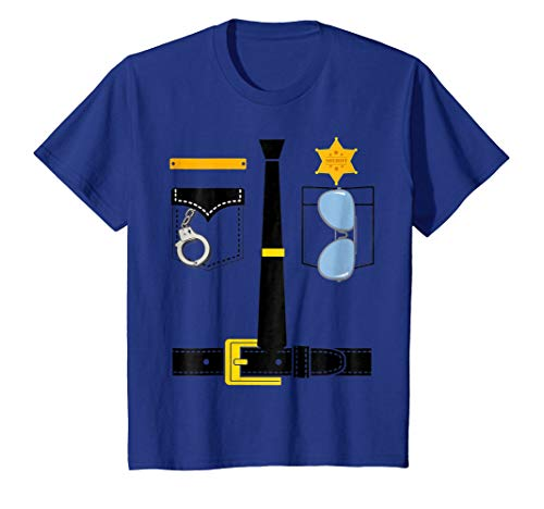 Kids Police Uniform Costume Halloween Kids T-Shirt 8 Royal Blue (Police Girls T-shirt)