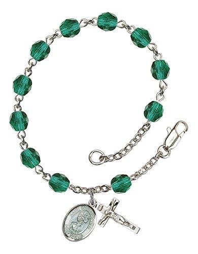 December Birthstone Rosary Bracelet (December Birth Month Bead Rosary Bracelet with Saint Christopher Petite Charm, 7 1/2 Inch)