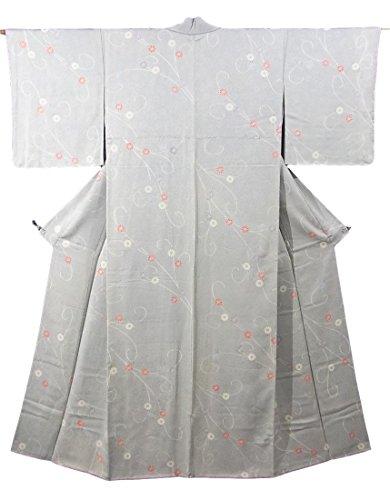 ラビリンス船上本当のことを言うとリサイクル 着物 小紋  菊の花に流線文様 正絹 袷 裄63.5cm 身丈158cm