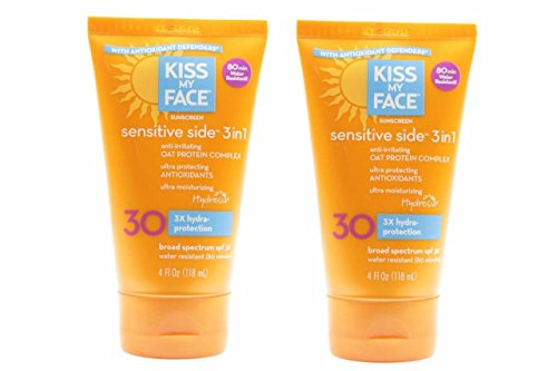 Kiss My Face Sunscreen Sensitive Side 3 in 1 with Oat Protein Complex (SPF 30 Sunblock, 4 oz) Lot of 2 Expiry on 12/18 - Oat Protein Sunscreen