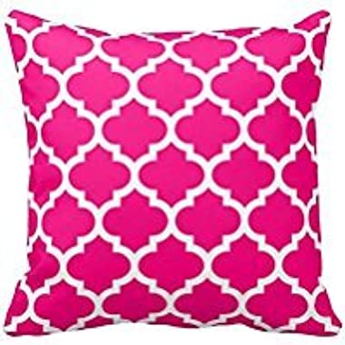 Moroccan Quatrefoil Hot Pink Pillow