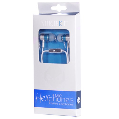 Subjekt HPM-21BL HerPhones Petite Earphones with Microphone Designed for Small Ears – Wired Headsets – Retail Packaging – Blue