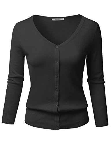 Solid Button Down V-Neck 3/4 Sleeves Knit Cardigan Black S Black V-neck Cable Knit