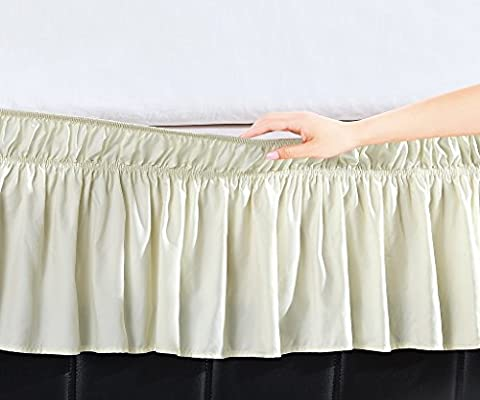 De Moocci Luxury Wrap Around Style, Elastic Bed Wrap Ruffled Bed Skirt 16inch Drop, Platform Free, 2 sizes, 100% Polyester (Cream Queen/King)