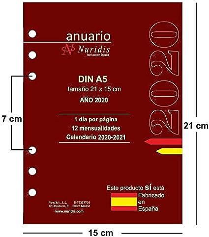 Recambio de agenda español. Año 2020. 1 día por página. DIN ...