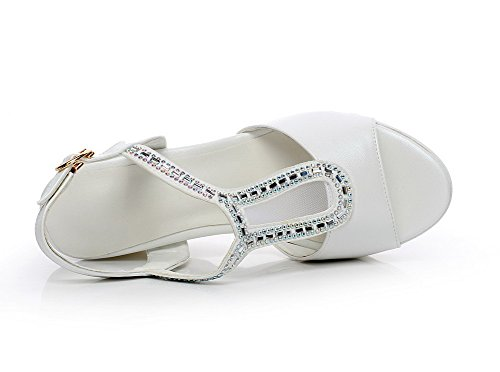 Solid Buckle Women's Heels Sandals AgooLar High White Open Toe nq1wgg6SZ