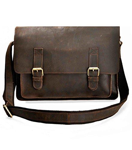 ZLYC Hombres Retro hecho a mano 14funda de piel portátil Macbook bolso bandolera hombro Messenger Bag, tamaño M