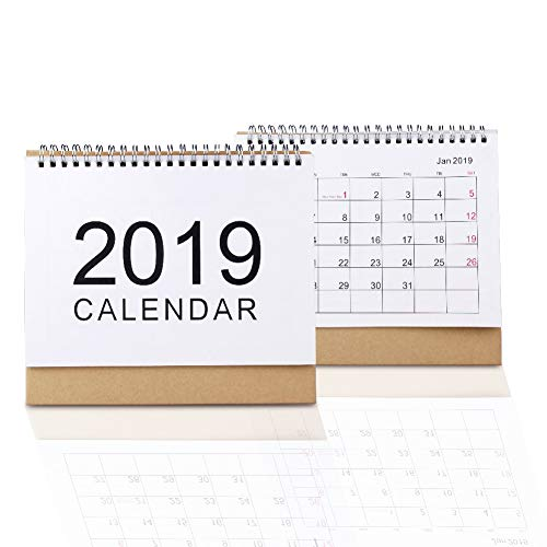 lendar Desk Pad Daily Weekly Monthly Yearly Academic Calendar Planners Runs from Sep 2018 to Dec 2019 with Stand for Office Home, School Classroom Students,Two Wire (Medium) ()