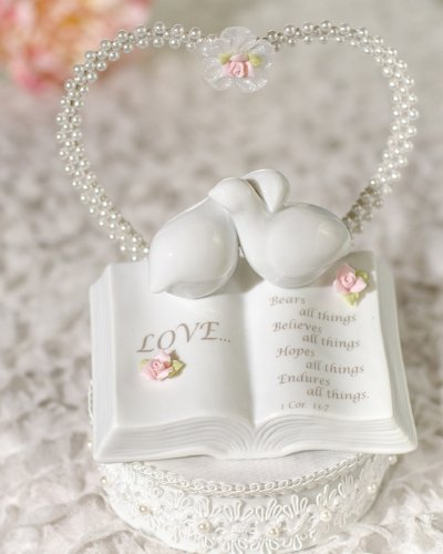 - Wedding Collectibles ROSE Love Verse Bible Cake Topper with Doves and Rose Accents