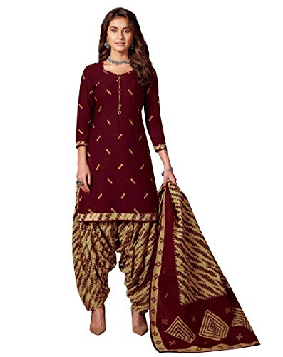 Miraan Women Cotton Unstitched Dress Material (BAND8019, Maroon, Free Size)