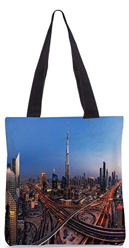 """Snoogg Dubai Stadt-Einkaufstasche 13,5 X 15 In """"Einkaufstasche Dienstprogramm Trage Aus Polyester Leinwand"""