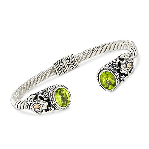 Ross-Simons 3.00 ct. t.w. Peridot and Two-Tone Sterling Silver Frog Cuff Bracelet