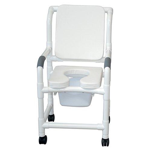 MJM 118-3TW-SSDE-CBP-SQ-PAIL-WH Standard Shower Chair wit...