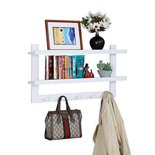 WELLAND Garcia Entryway Wall Shelf Hanging Shelf, Wall-Mounted Coat Hook Rack with 5 Hooks for Hallway, Bathroom, Living Room, Bedroom, 29-inch,White