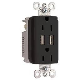 ON-Q Combination Power Outlets Decorator Duplex USB Charger Receptacle Black (TM826USBBKCC6)