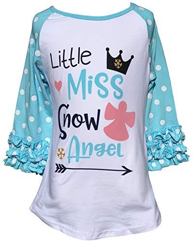 Little Girls Little Miss Snow Angel Christmas Holiday Top T-Shirt Tee Blue 3T S (P318463P)