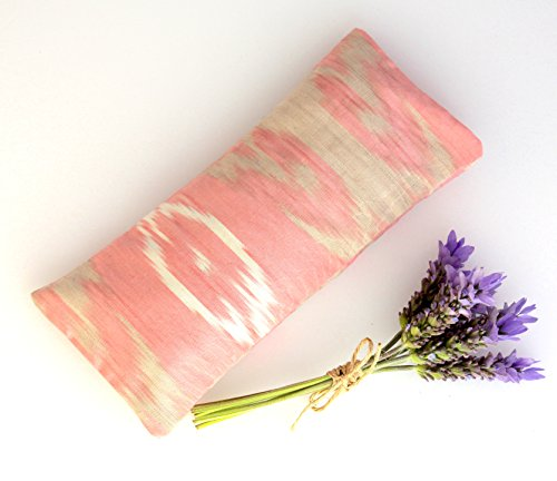 (Relaxing Lavender Eye Pillow Uzbek Ikat Silk Pink White Removable Cover Gift Idea Yoga Retreat Sleep Essential Aromatherapy Silk Mask)