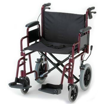 """NOVA 332 Lightweight Transport Chair with Detachable Arms, Hand Brakes and 12"""" Rear Wheels, 22"""""""