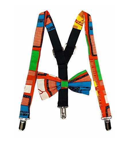 Print Boys Tie - African fabric suspenders, suspenders, Bowtie set for boys, African print bow tie Ajustable,Bow tie and suspenders set (COLOR 6)