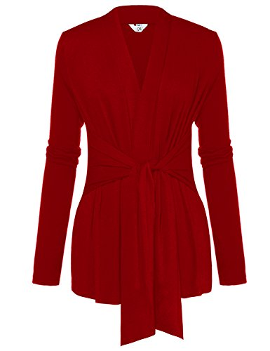 A Blues Man Womens Casual Long Sleeve Open Front Drape Wrap Travel Cardigan Sweater Red XXL
